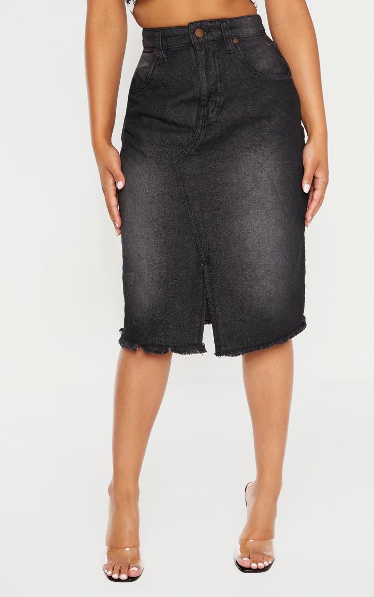 Petite Washed Black Midi Denim Skirt 2