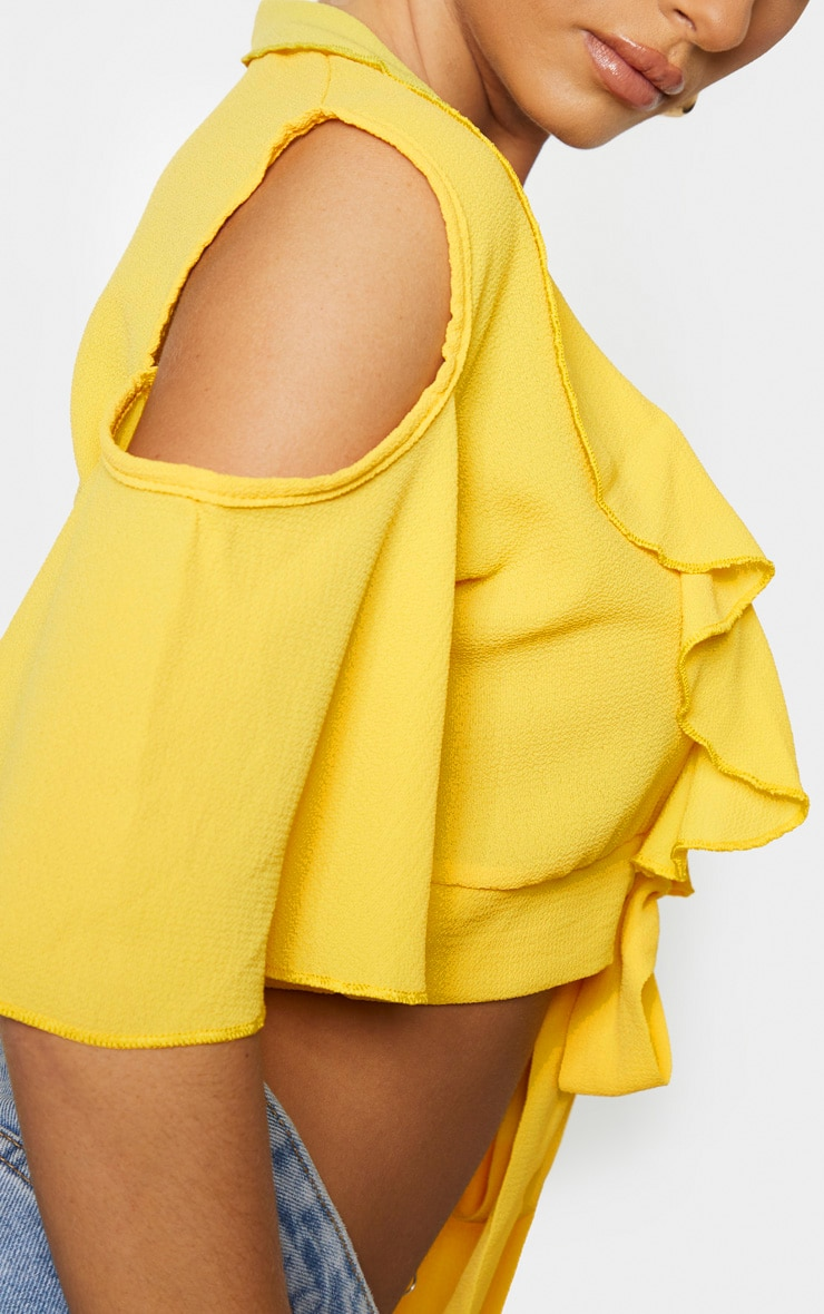 Yellow Chiffon Frill Detail Tie Front Crop Blouse 4