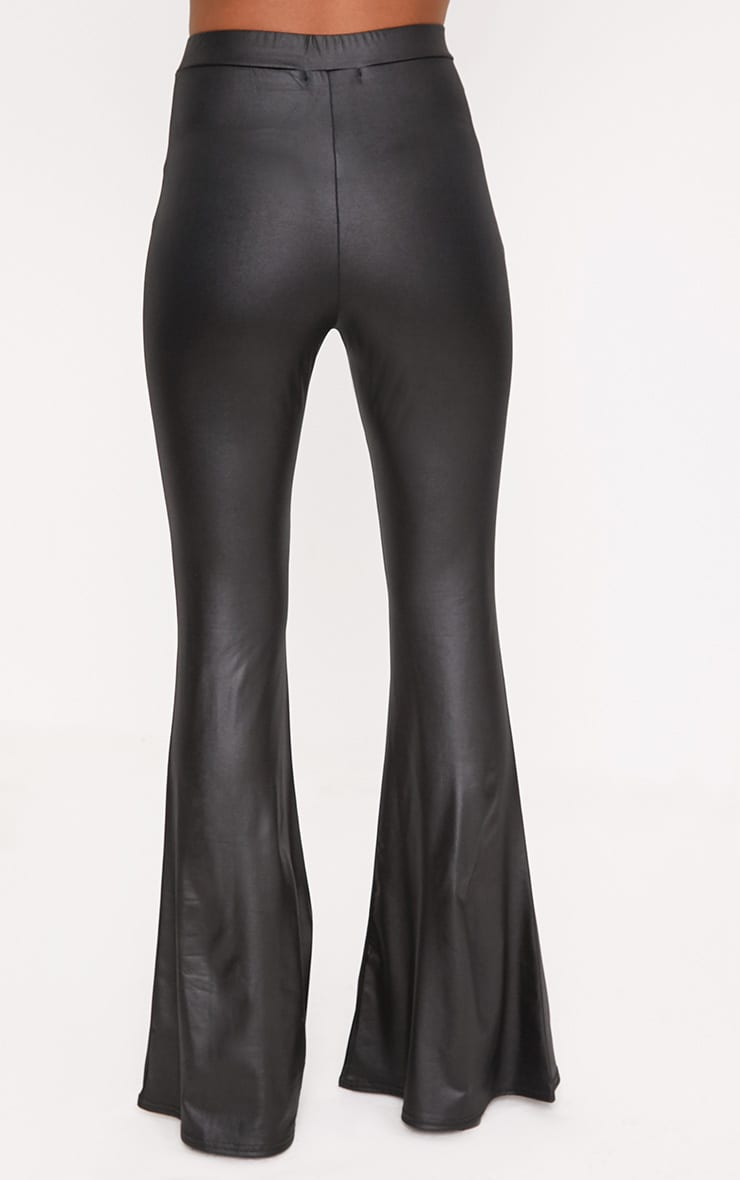 Black PU Lace Up Flared Trousers 4