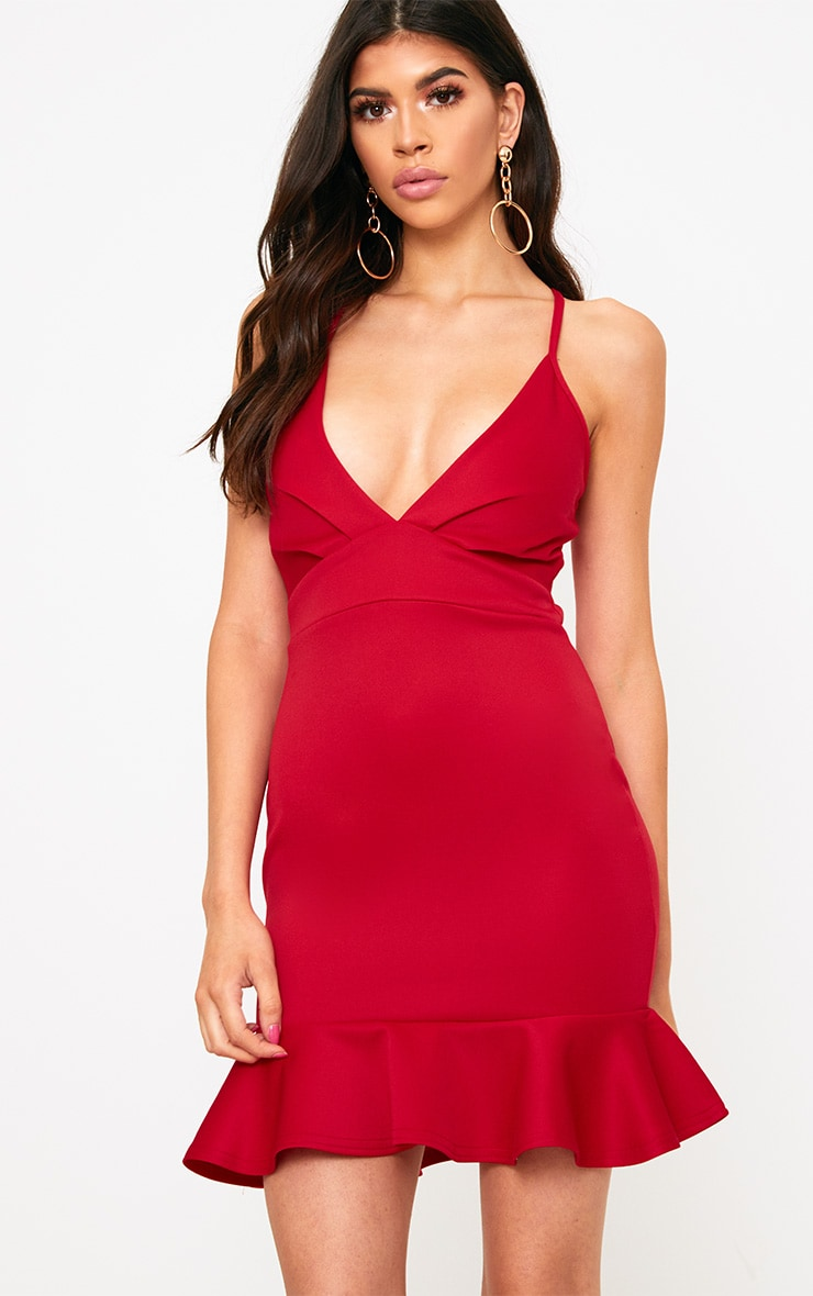 Red Strappy Frill Hem Bodycon Dress 1