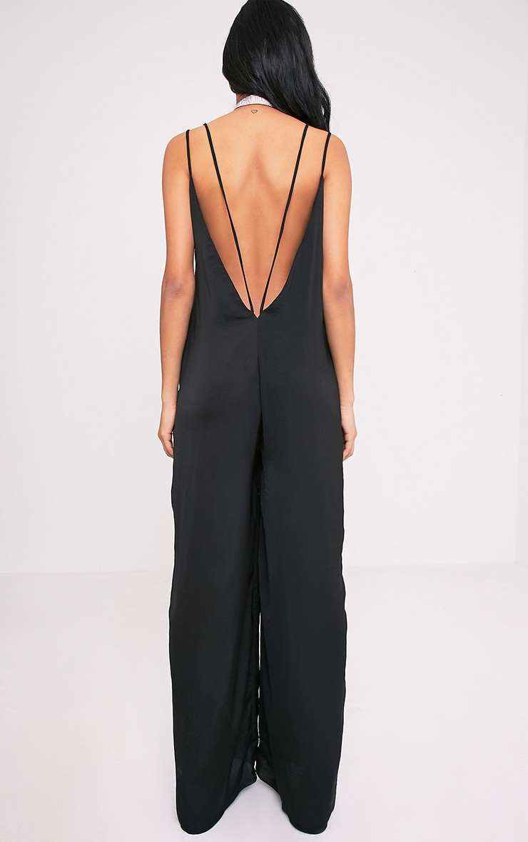 Elisabeth Black Oversized Satin Harness Wide Leg Jumpsuit 2