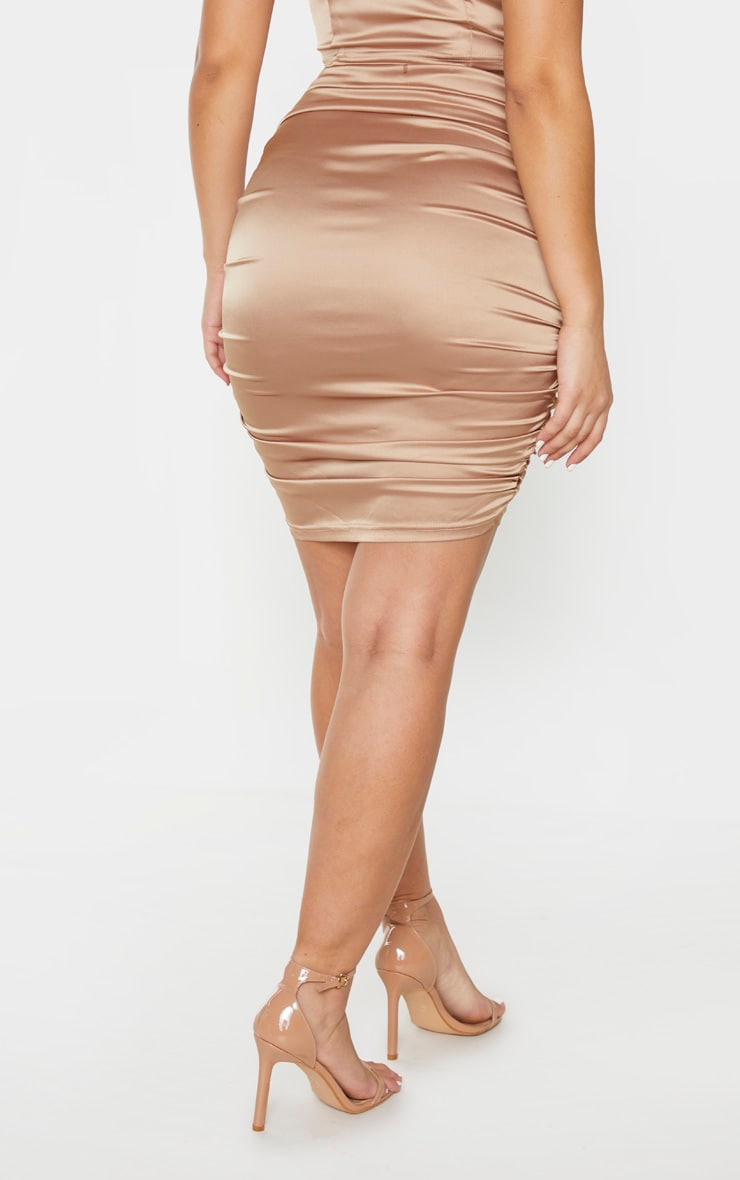 Gold Woven Double Ruched Side Midi Skirt 3