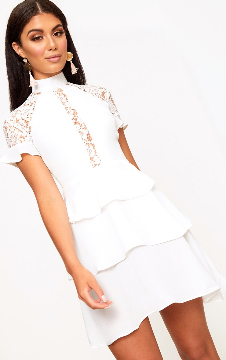 White High Neck Ruffle Detail Bodycon Dress 1