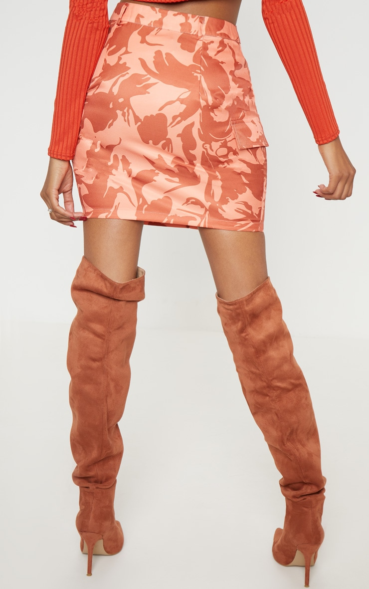 Burnt Orange Cargo Camo Mini Skirt 4