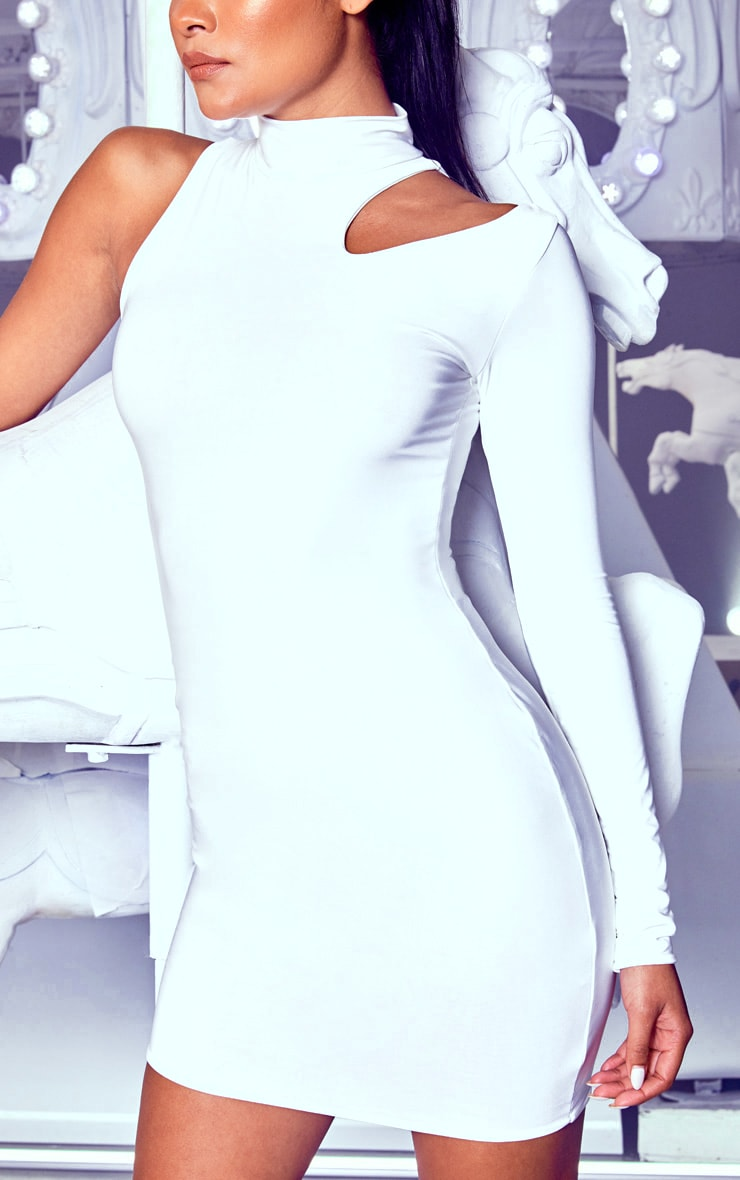 White High Neck One Shoulder Bodycon Dress 5