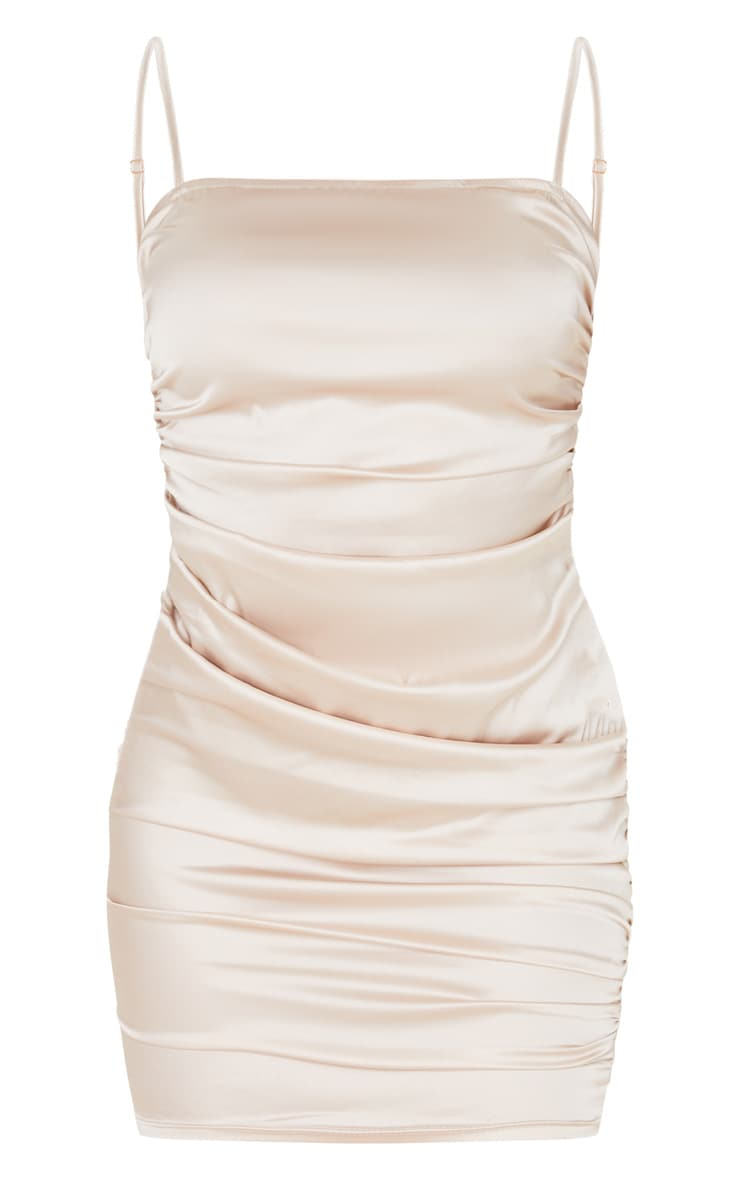 Nude Ruched Strappy Satin Bodycon Dress 3