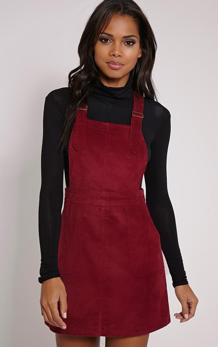 Sila Burgundy Cord Pinafore Mini Dress 1