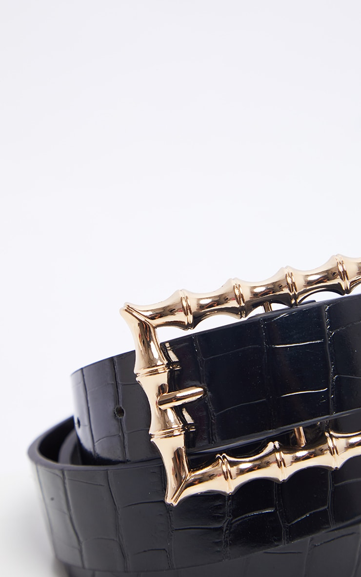 Black Square Bamboo Buckle Belt 3
