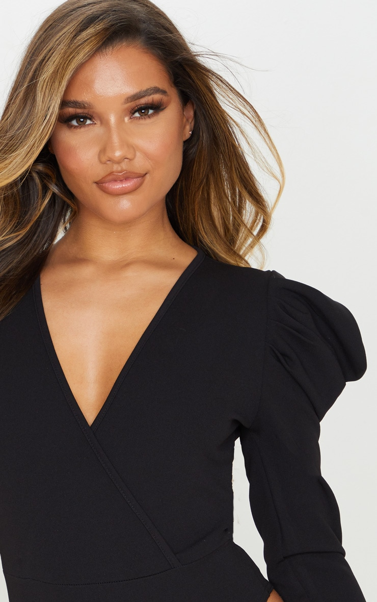 Black Crepe Puff Sleeve Deep Plunge Bodysuit 6