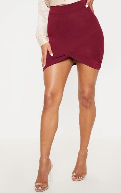 Basic Burgundy Asymmetric Mini Skirt