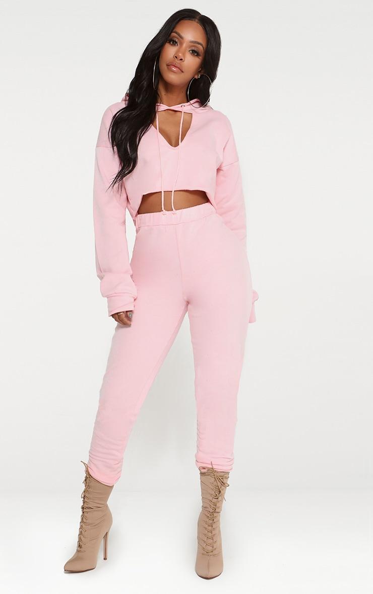 Shape Pink Crop Open Neck Hoodie 4