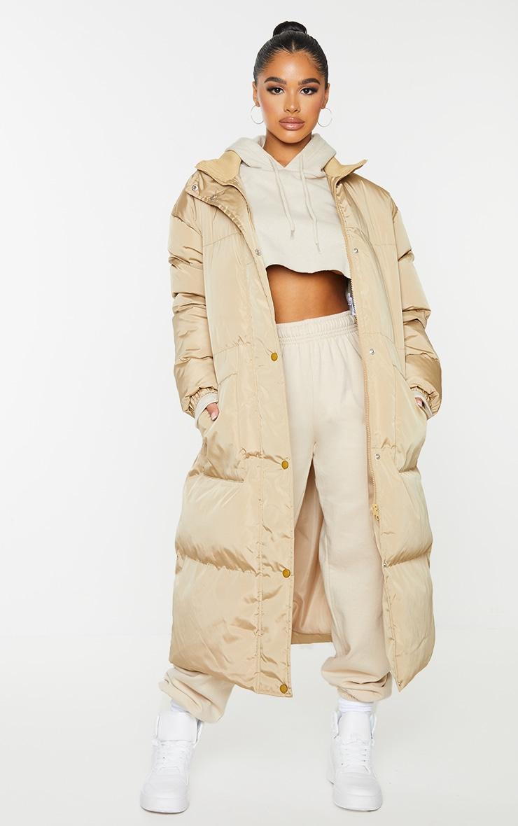 Petite Camel Maxi Puffer Coat 1