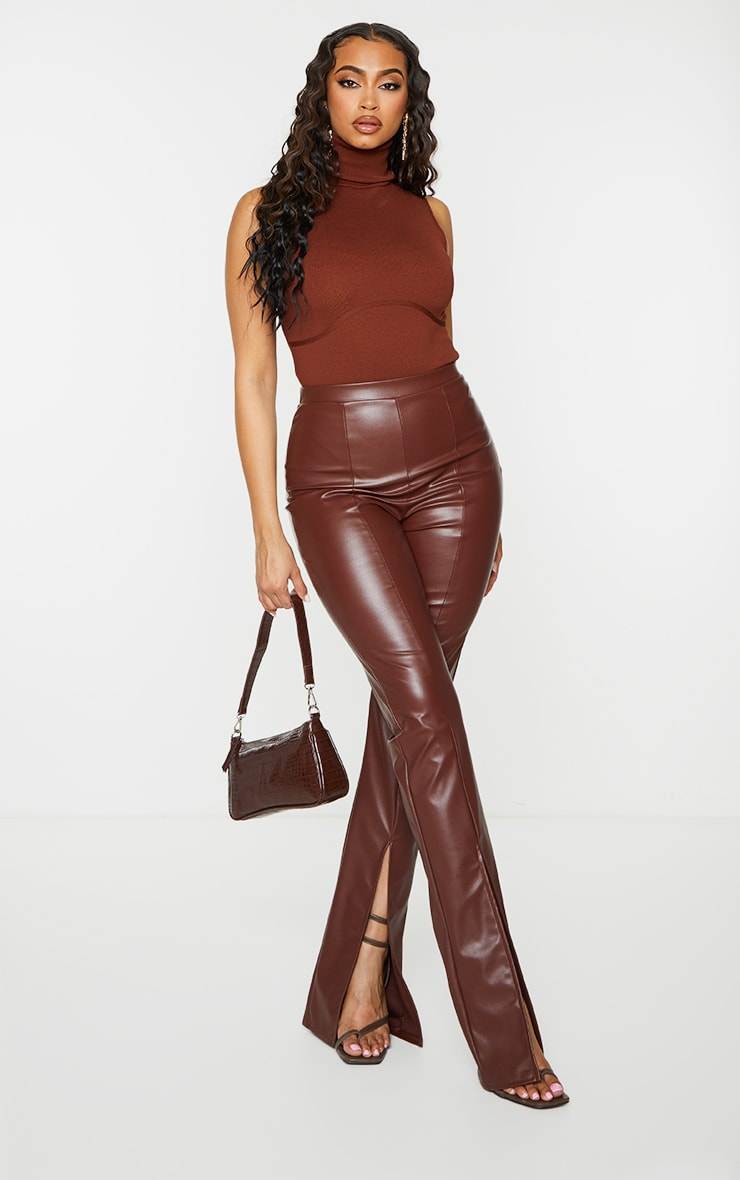 Chocolate Ribbed Bandage Bust Detail Roll Neck Bodysuit 3