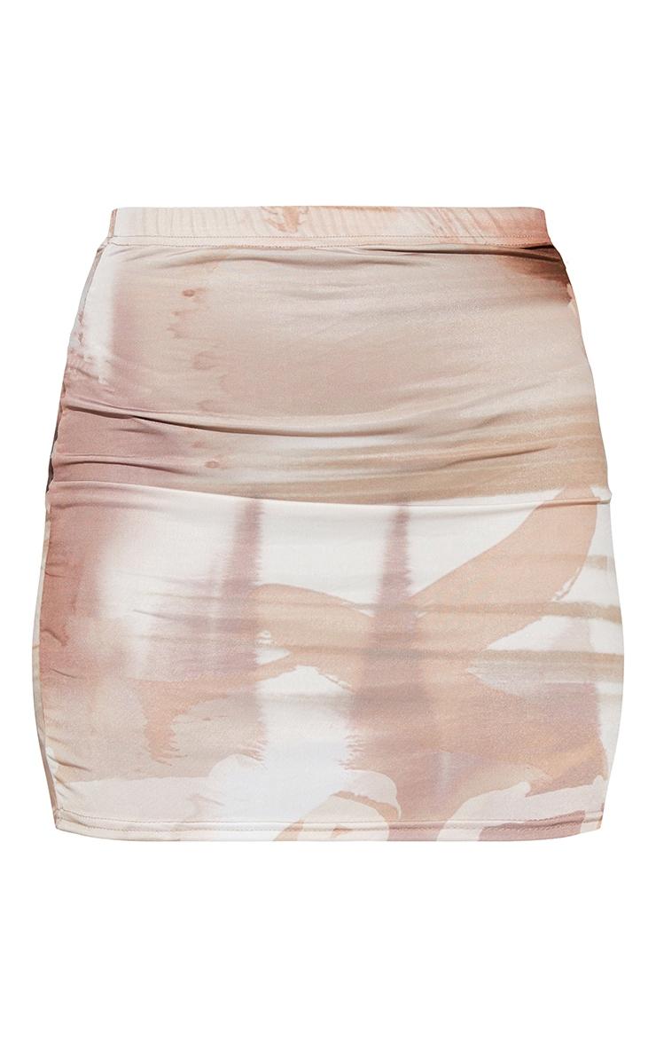 Nude Textured Print Slinky Split Side Mini Skirt 6