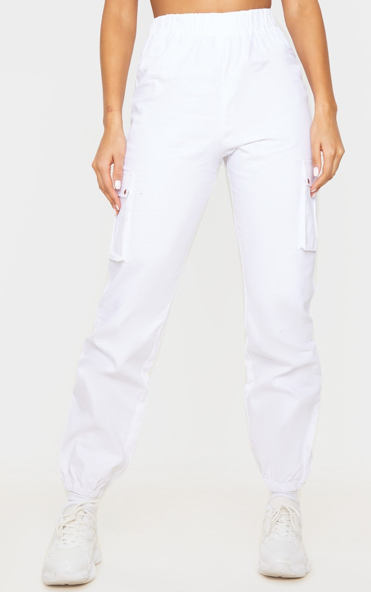 White Pocket Detail Cargo Pants 2