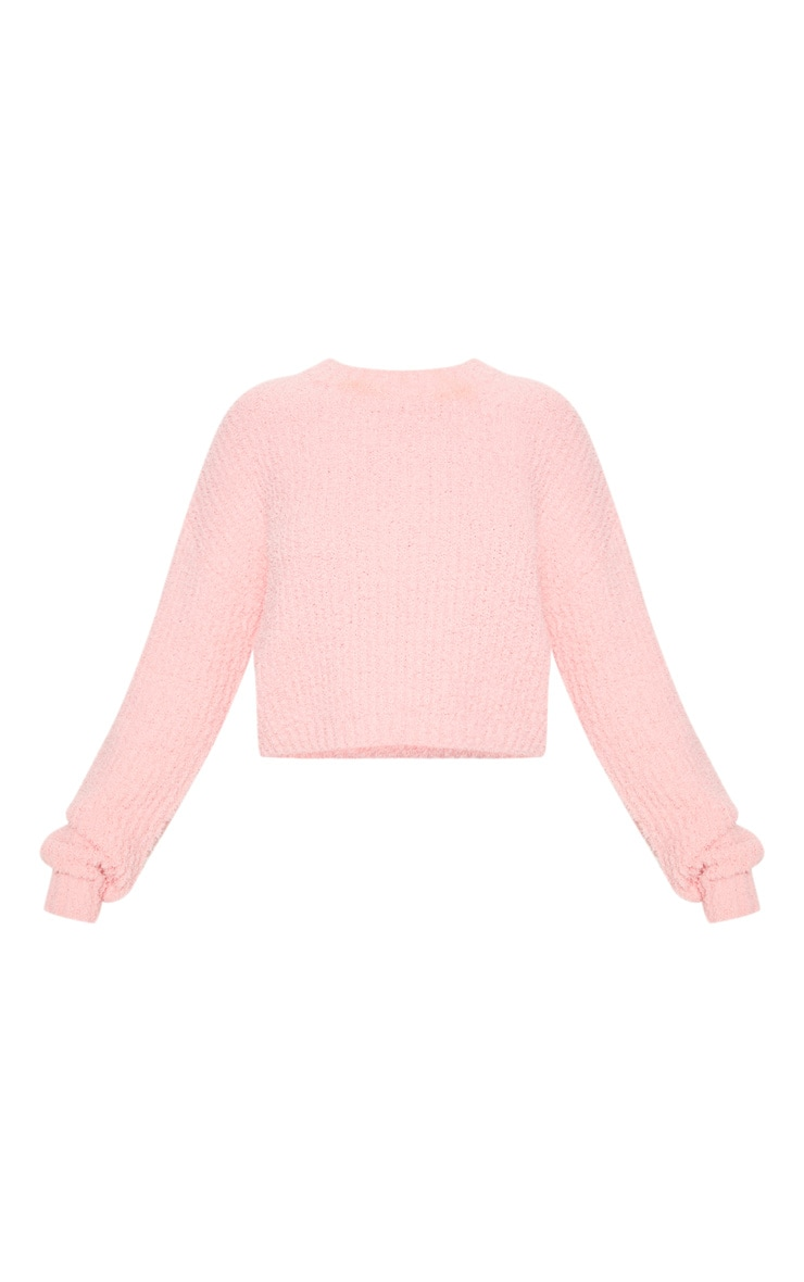 Coral Textured Soft Knit Crop Sweater 3