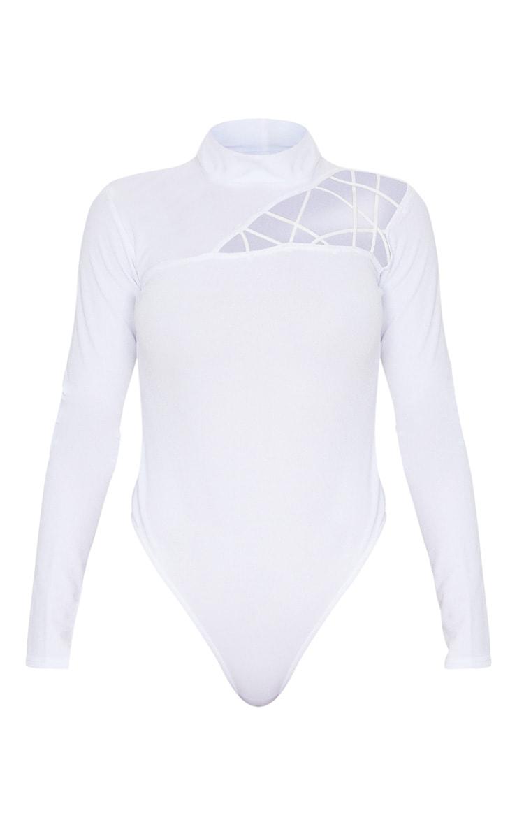 White Cut Out Detail Crepe Bodysuit 3
