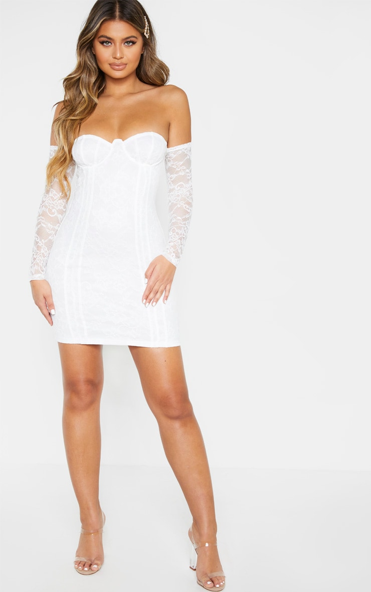 White Lace Cup Detail Bodycon Dress 3