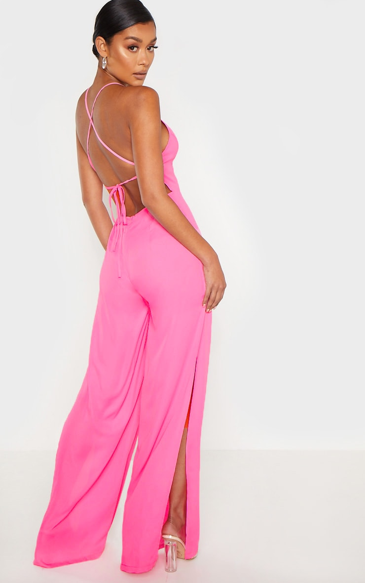Bright Pink Plunge Side Split Leg Jumpsuit 2