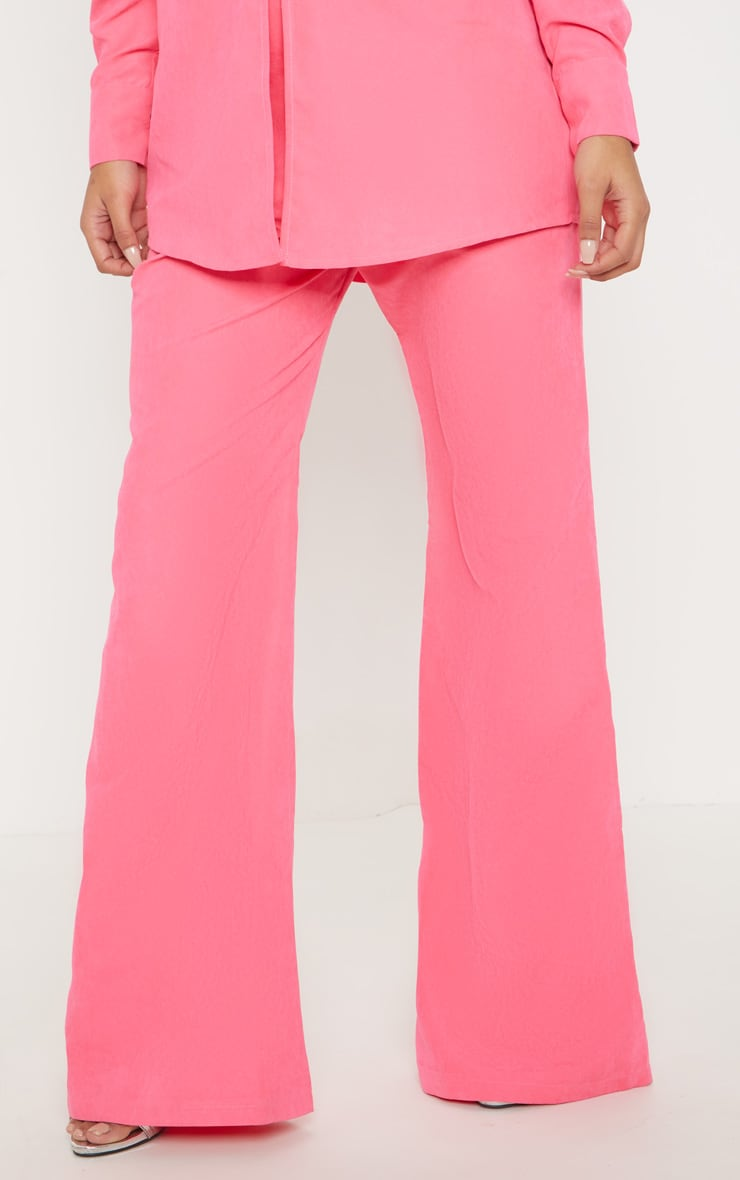Hot Pink Faux Suede Wide Leg Trouser 2