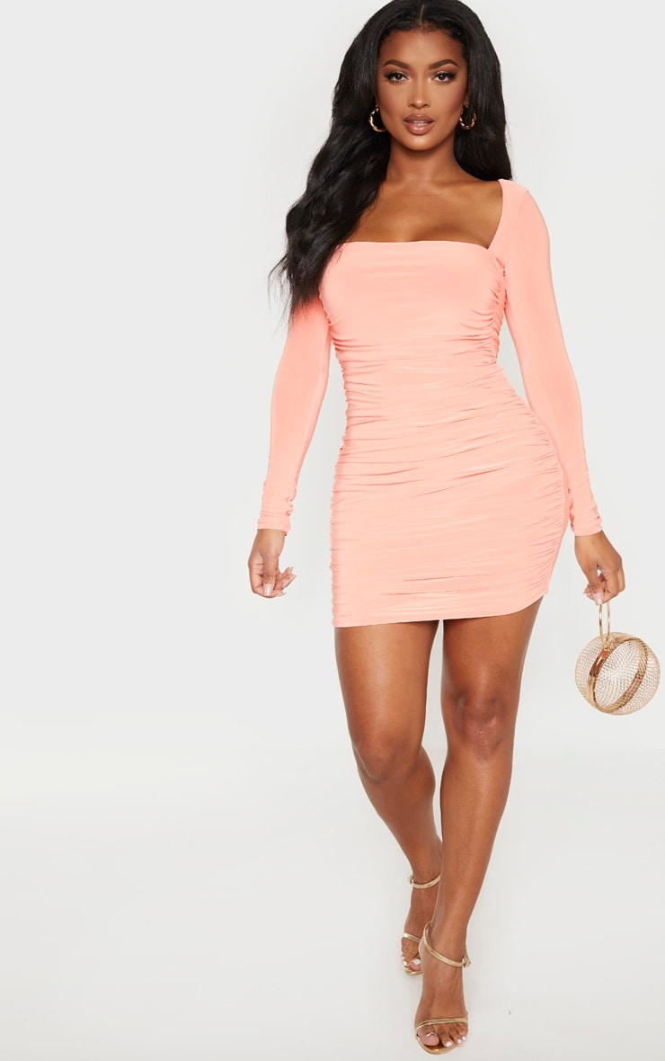 Shape Peach Slinky Square Neck Ruched Front Bodycon Dress 4