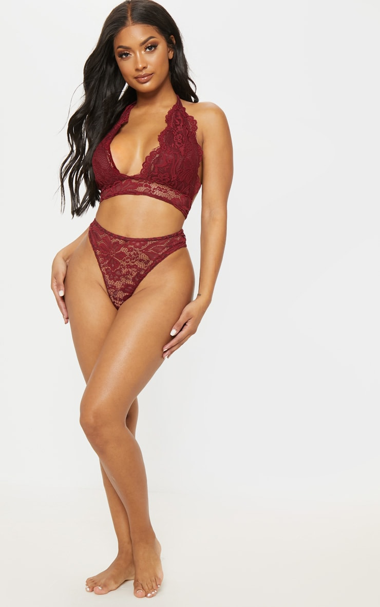 Shape Burgundy Lace French Knickers 4