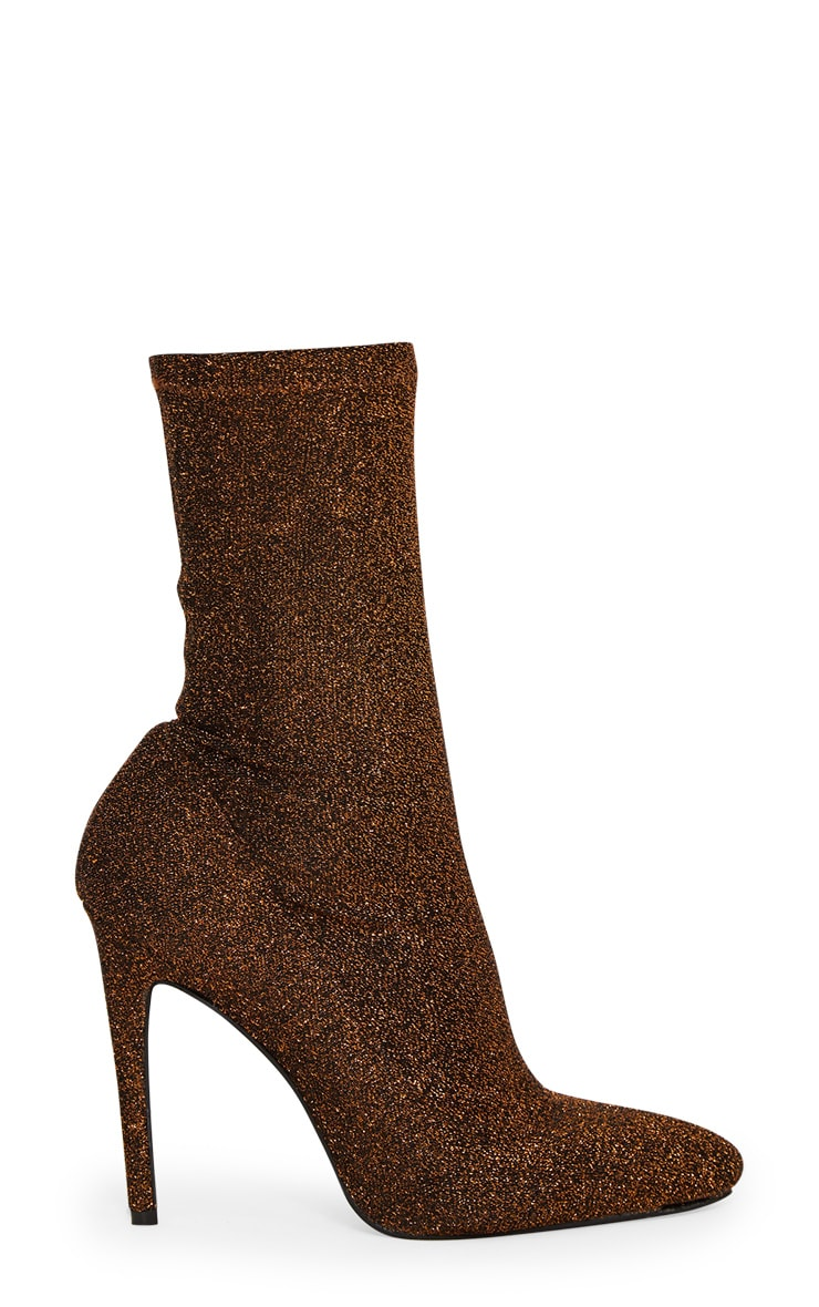 Bronze Glitter Sock Pointy Boots 3