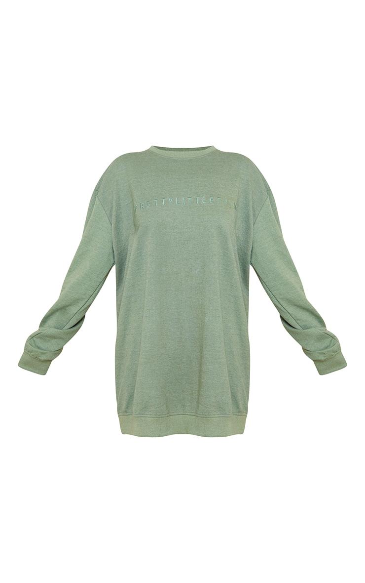 PRETTYLITTLETHING Olive Slogan Sweater Dress 5