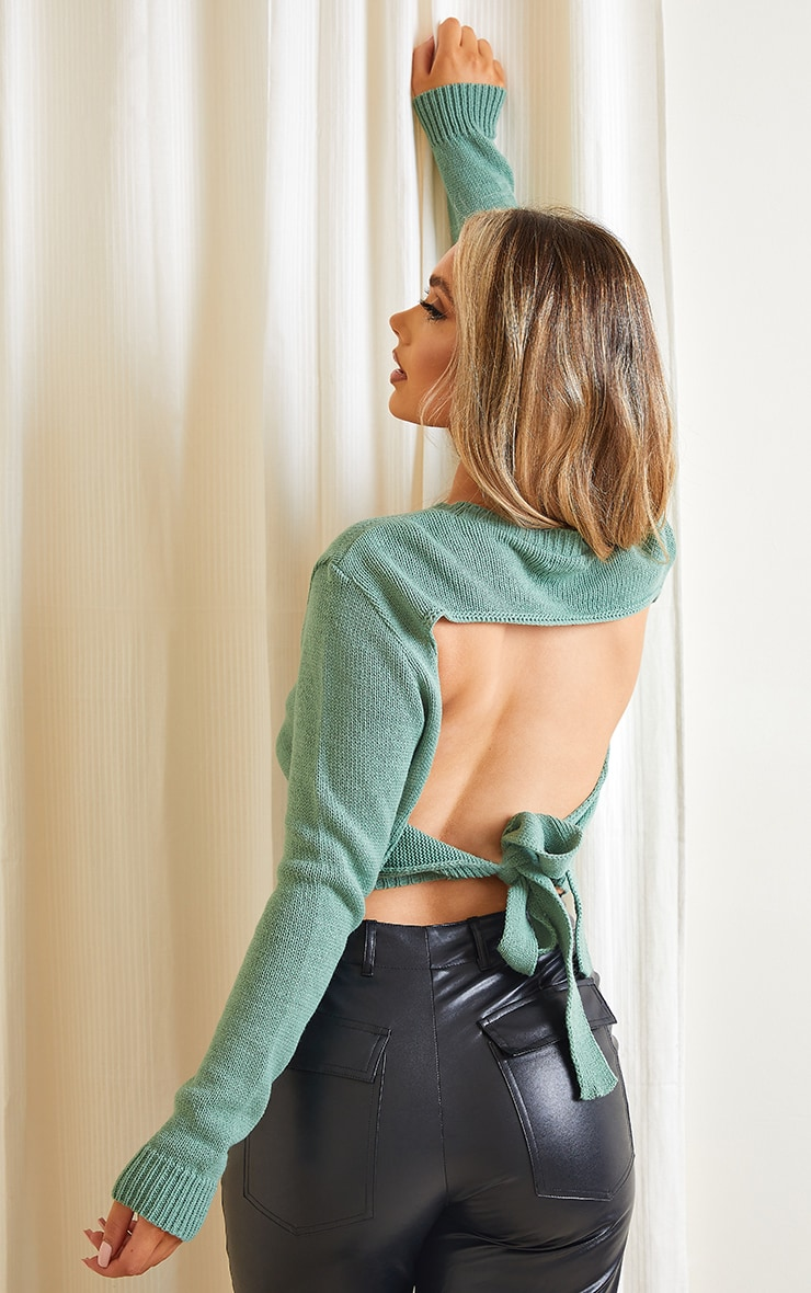 Sage Green Tie Back Knitted Jumper 1