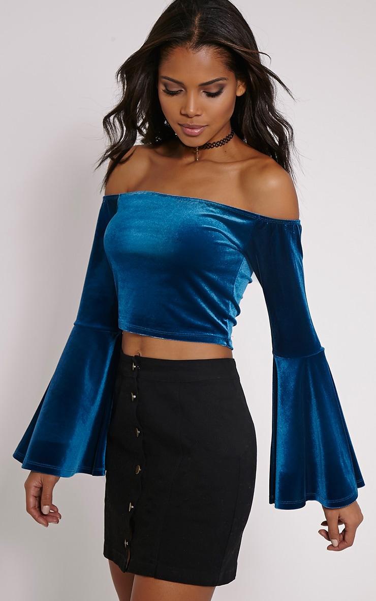 Lena Teal Velvet Bell Sleeve Bardot Crop Top 1
