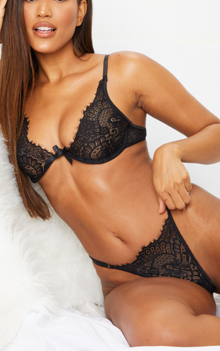 Black Underwired Lace Cup Lingerie Set 4
