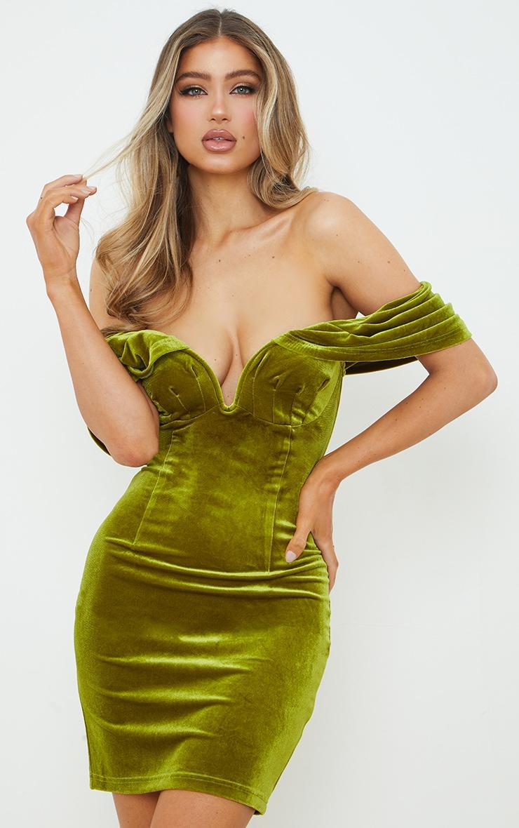 Olive Velvet Plunge Bardot Bodycon Dress 1