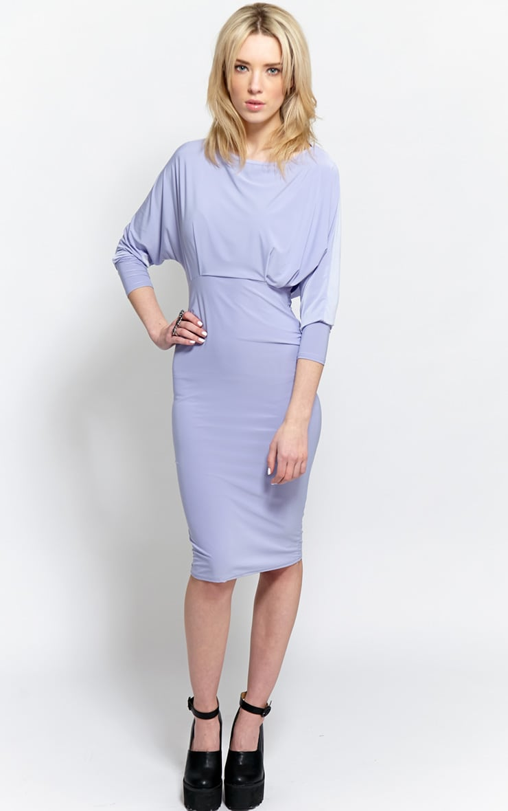 Eden Lilac Long Sleeve Midi Dress  1