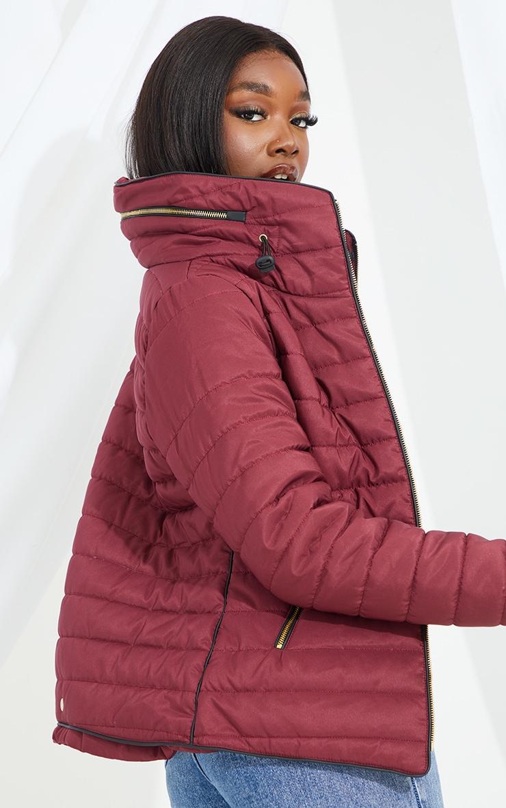 Tall Burgundy Puffer Jacket 2