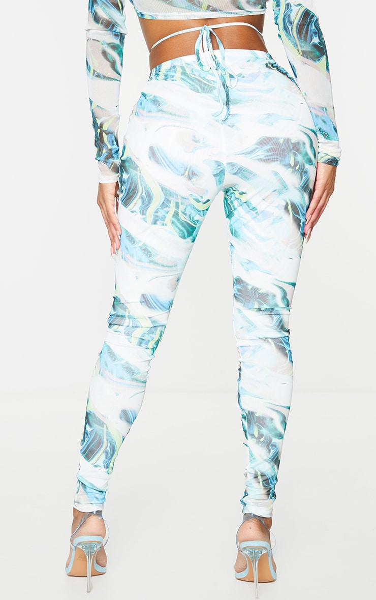 Shape Blue Marble Print Sheer Mesh Ruched Front Leggings 3