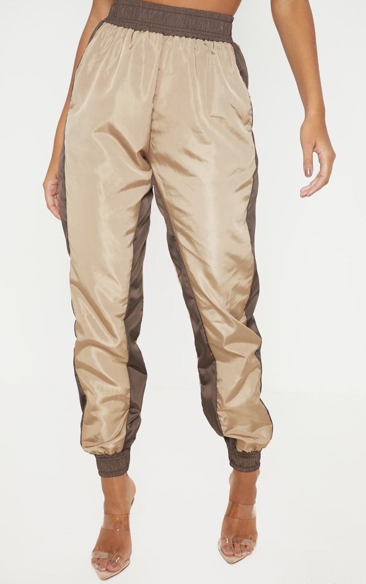 Taupe Contrast Panel Shell Jogger 2