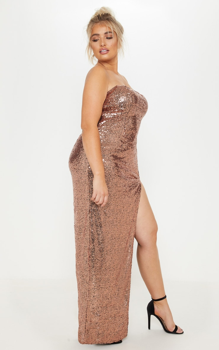 Plus Bronze Bandeau Sequin Split Front Maxi Dress 4