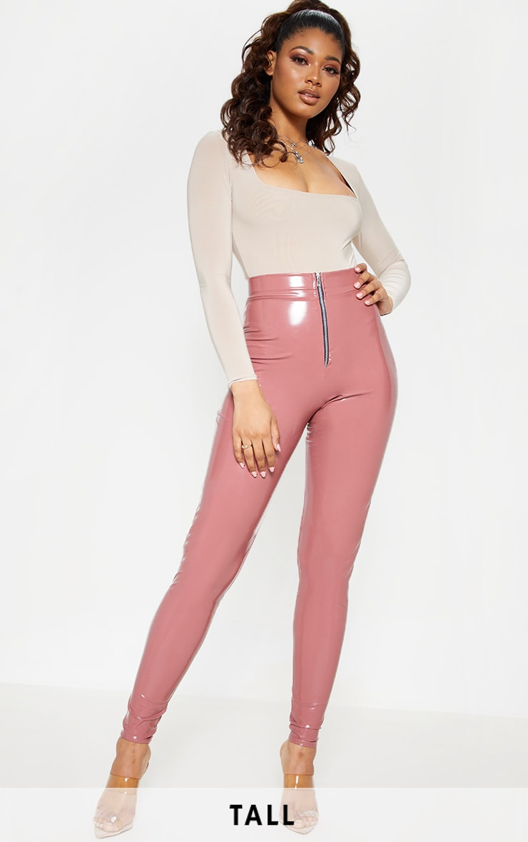 Tall Nude Zip Detail Vinyl Leggings 1