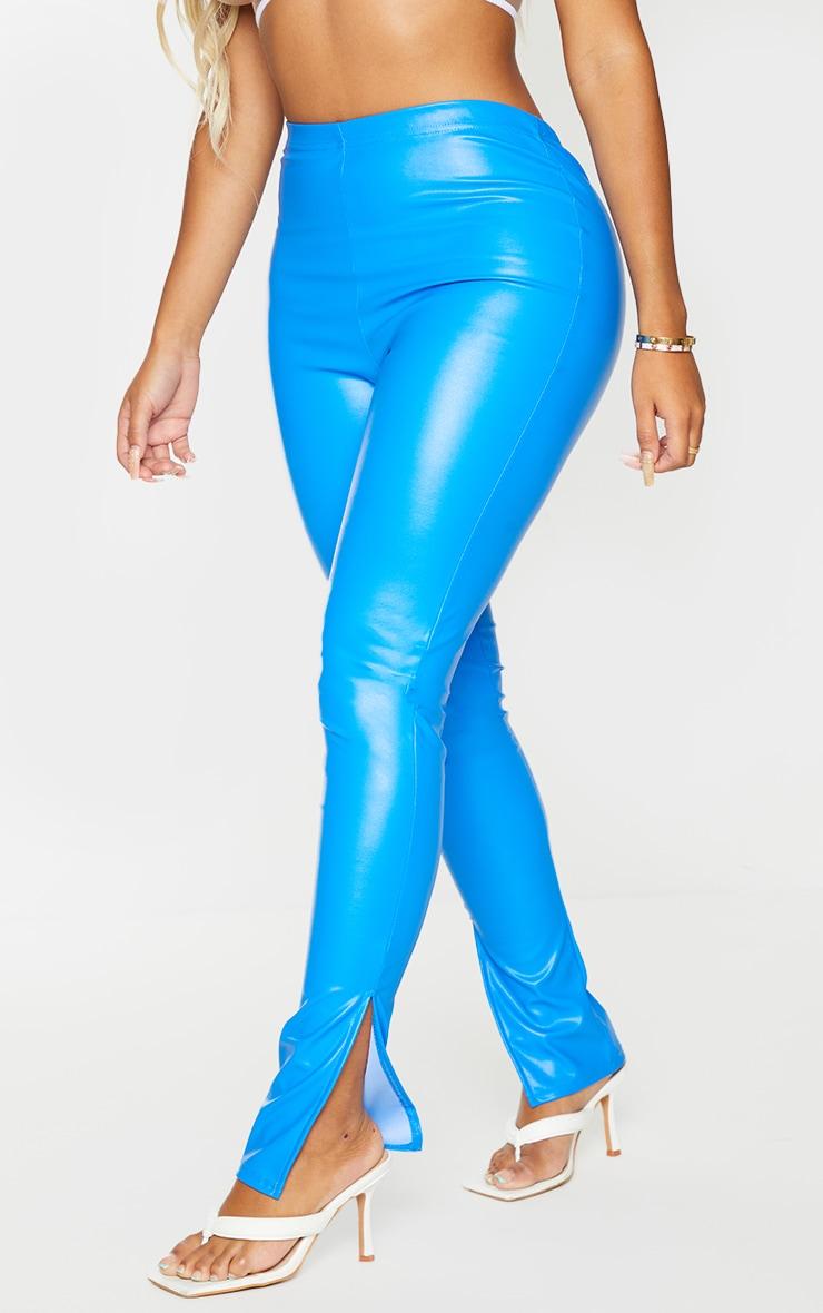 Shape Blue PU Split Hem Trousers 2
