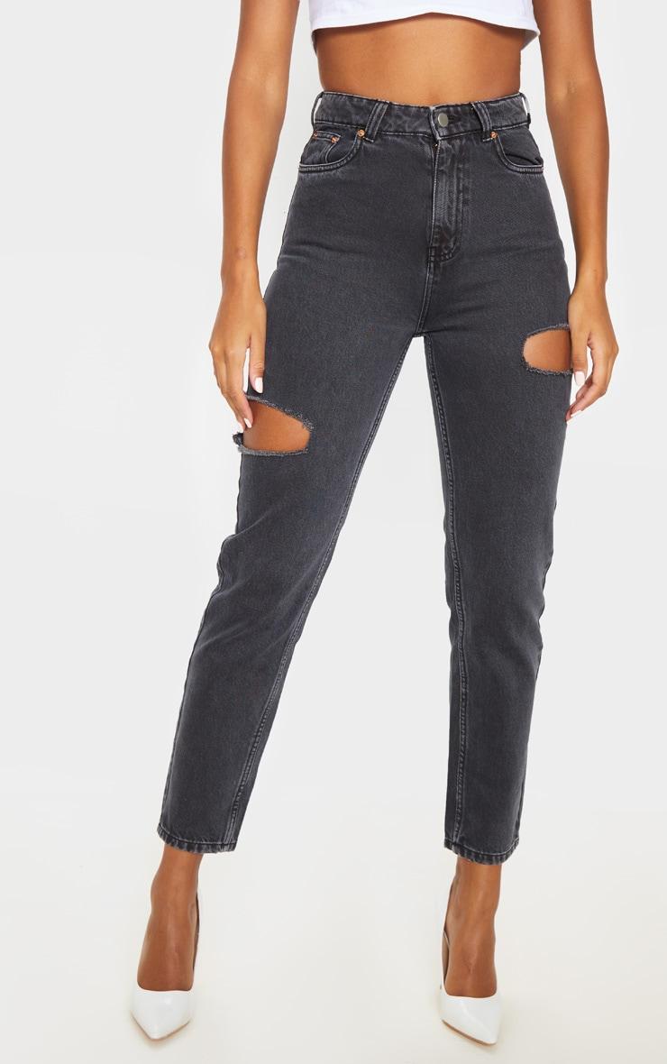 Washed Black Thigh Split Straight Leg Jean 2