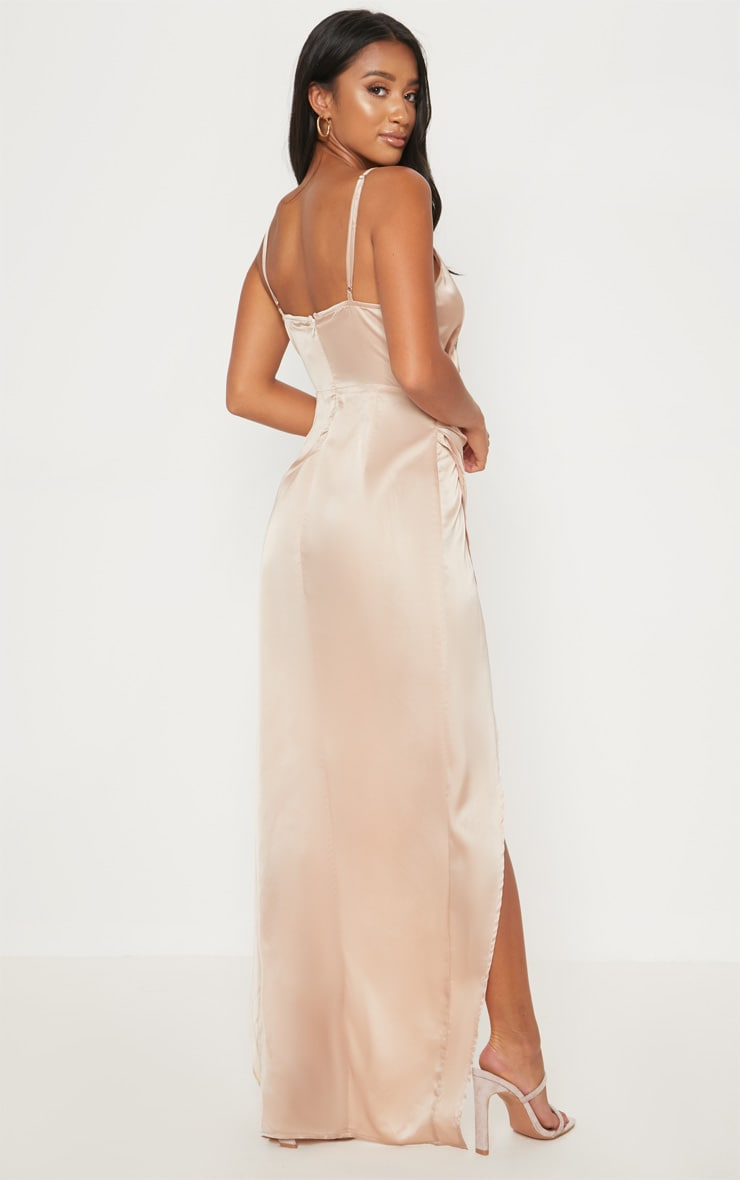 Petite Champagne Satin Wrap Detail Maxi Dress 2
