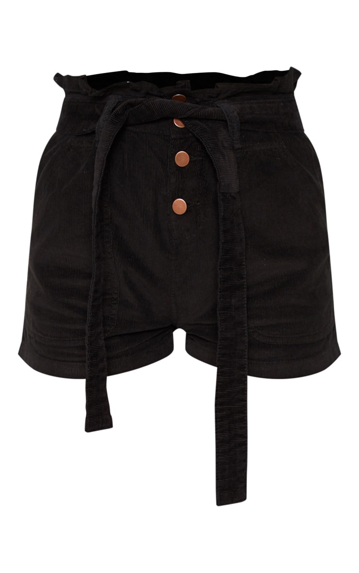 Black Cord Paperbag Shorts 3