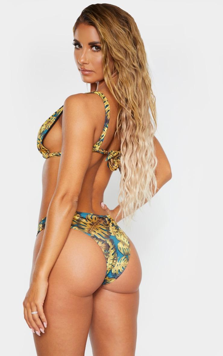 Teal Leaf Print High Apex Triangle Bikini Top 2