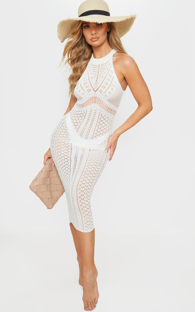 Cream Cut Out Detail Crochet Knit Midi Dress 1