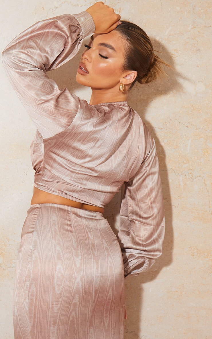 Mocha Printed Satin Tie Front Blouse 2
