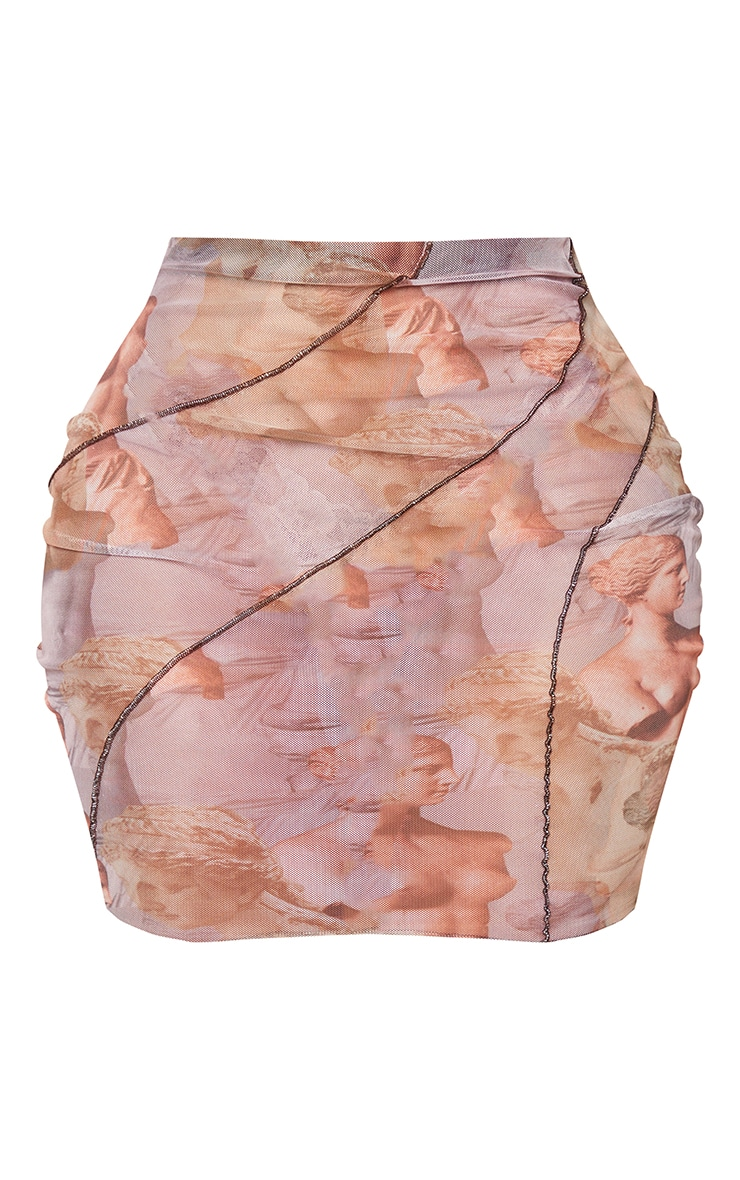 Shape Lilac Renaissance Print Sheer Mesh Seam Detail Bodycon Skirt 6