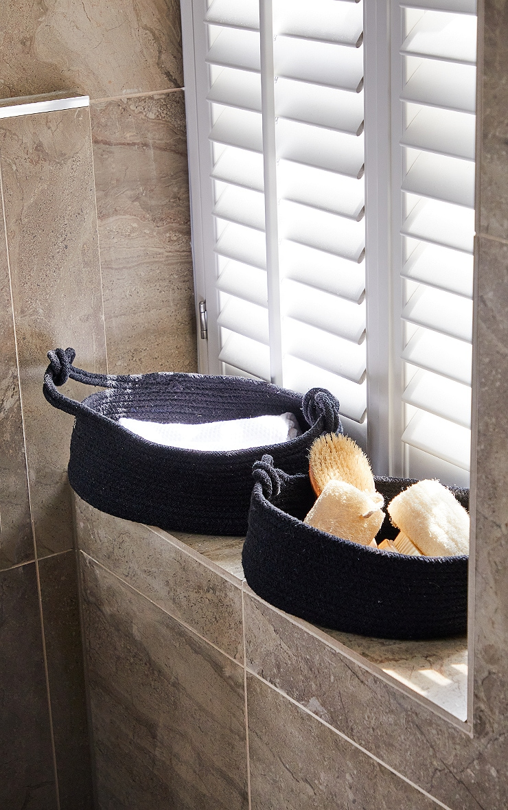 Black Large Cotton Rope Storage Basket 1