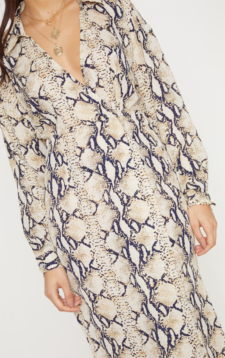Taupe Snake Print Wrap Midi Dress 5