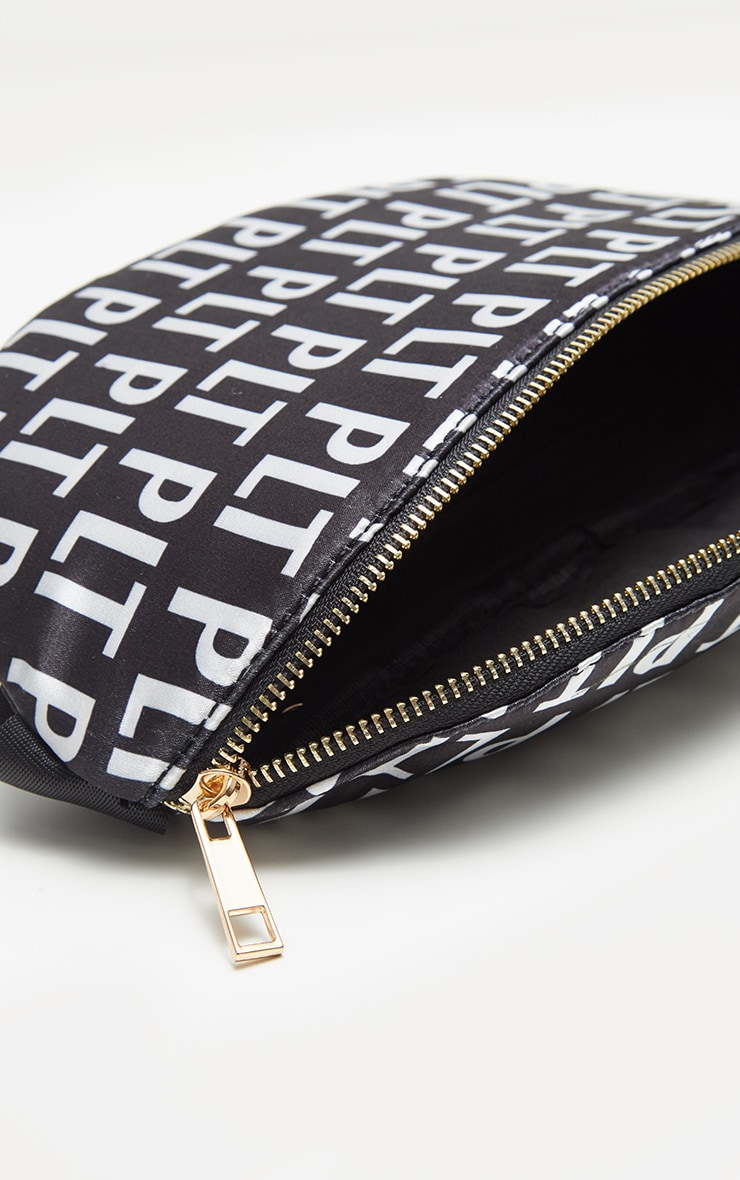 PRETTYLITTLETHING Black Monogram Satin Bum Bag 4
