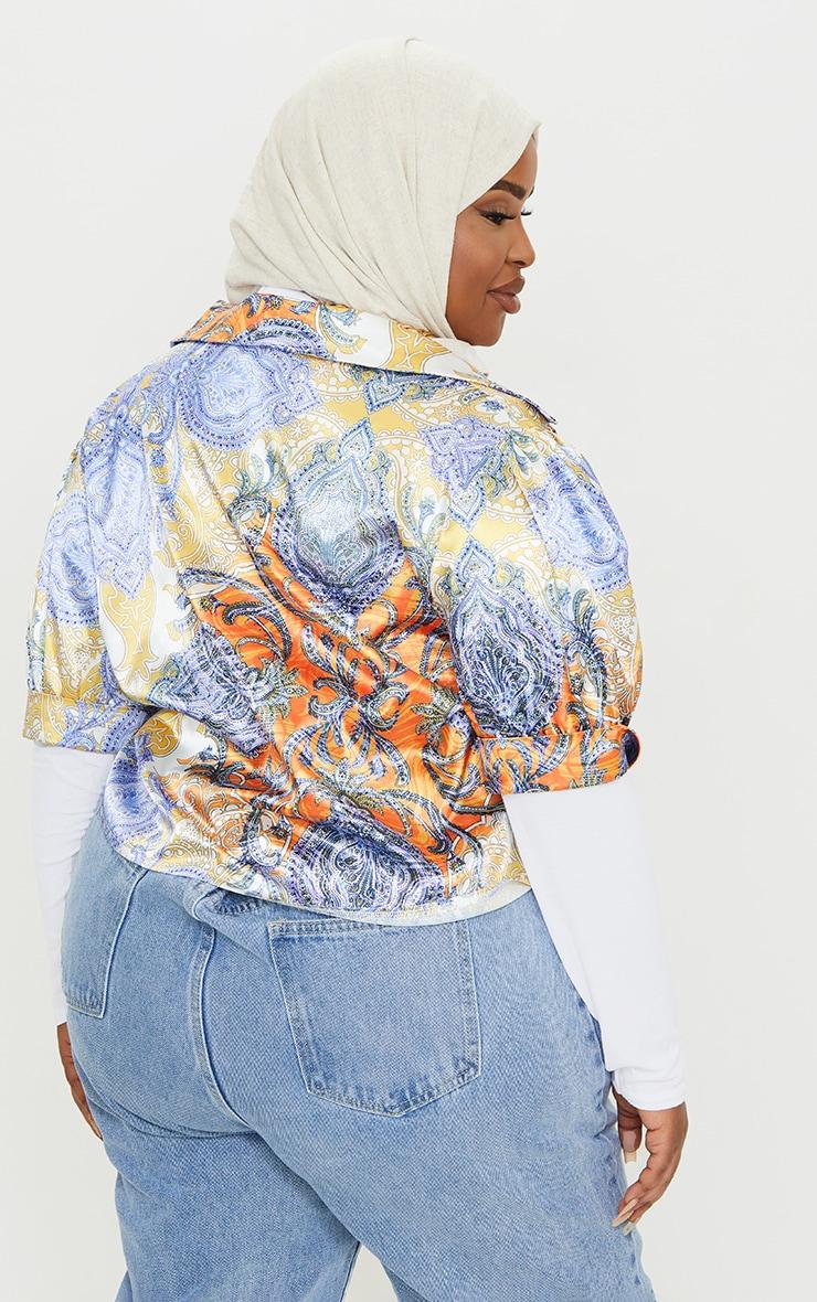 Plus Multi Paisley Printed Satin Elasticated Short Sleeve Shirt 2
